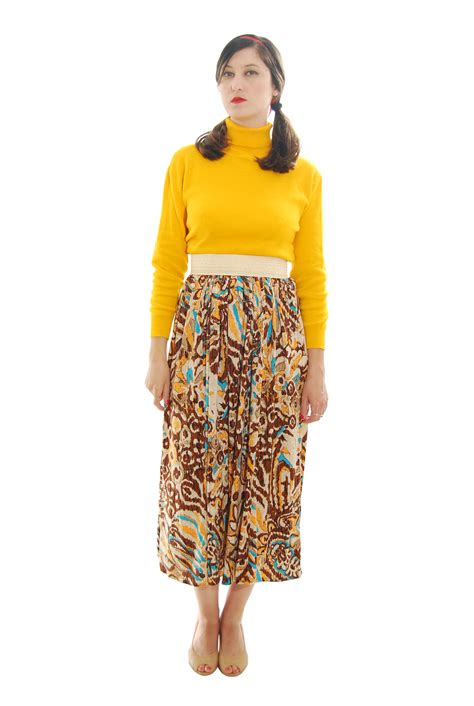Mix Color Abstract Print Vintage Skirt For Women 1980s