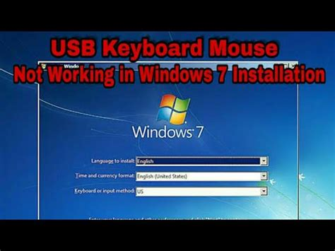 Usb keyboard mouse hang on installation of window 7 on new