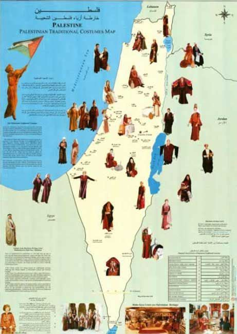 The Palestinian traditional costume map based on a 1945