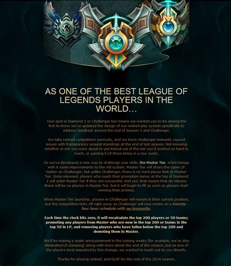League of Legends to add 'Master Tier' on top of Diamond