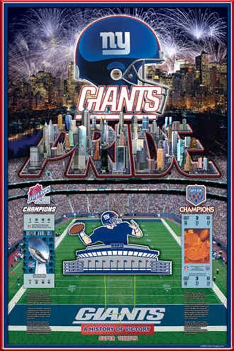 New York Giants Super Bowl History of Victory Art Poster Photo