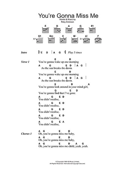 You're Gonna Miss Me sheet music by The Thirteenth Floor